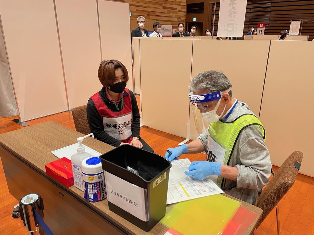 岡山市集団接種訓練の様子